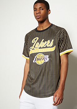 NBA Los Angeles Lakers Yellow Striped Graphic Jersey Tee