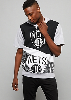 NBA Brooklyn Nets Black Speckled Short Sleeve Hoodie