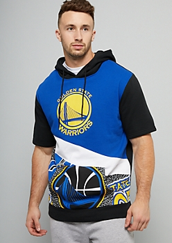 NBA Golden State Warriors Royal Blue Speckled Short Sleeve Hoodie