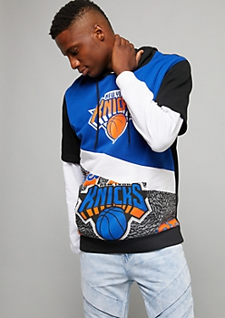 NBA New York Knicks Royal Blue Speckled Short Sleeve Hoodie
