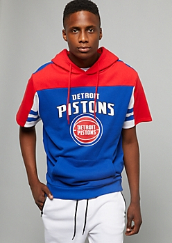 NBA Detroit Pistons Red Striped Short Sleeve Hoodie