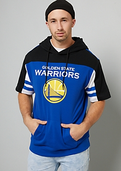 NBA Golden State Warriors Black Striped Short Sleeve Hoodie