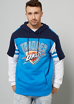 NBA Oklahoma City Thunder Navy Striped Short Sleeve Hoodie