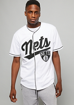 NBA Brooklyn Nets White Button Down Top