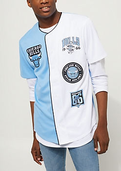 Light Blue Chicago Bulls Logo Split Patch Jersey