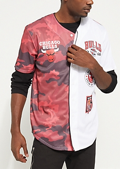 Red Chicago Bulls Logo Split Patch Jersey
