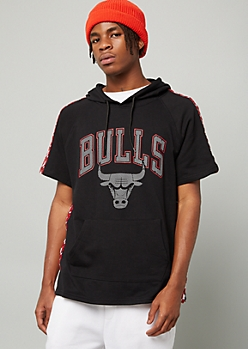02f421dec81c0f NBA Chicago Bulls Black Side Striped Short Sleeve Hoodie