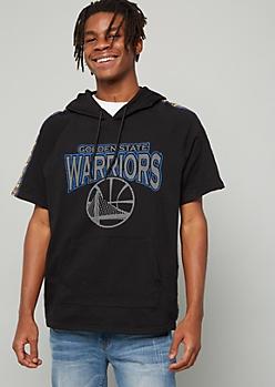 NBA Golden State Warriors Black Side Striped Short Sleeve Hoodie