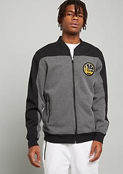 NBA Golden State Warriors Gray Patch Zip Front Sweatshirt