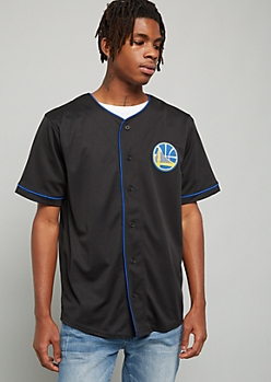 NBA Golden State Warriors Black 46 Button Down Jersey