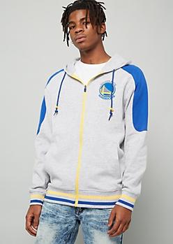 NBA Golden State Warriors Gray Varsity Striped Zip Front Hoodie