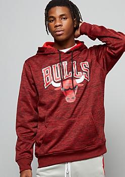 NBA Chicago Bulls Red Space Dye Fleece Graphic Hoodie
