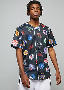 NBA Teams Black Button Down Graphic Jersey