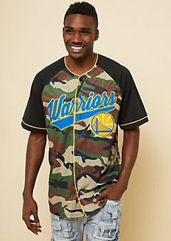 NBA Golden State Warriors Camo Print Button Down Jersey