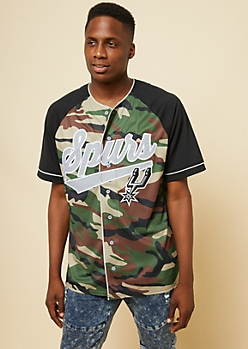 NBA San Antonio Spurs Camo Print Button Down Jersey