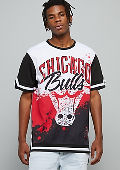 NBA Chicago Bulls Black Paint Splattered Graphic Jersey Tee