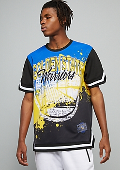NBA Golden State Warriors Black Paint Splattered Graphic Jersey Tee