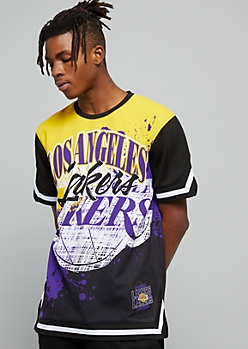 NBA Los Angeles Lakers Black Paint Splattered Jersey Tee
