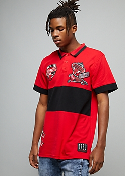 NBA Chicago Bulls Red Colorblock Graphic Polo Shirt