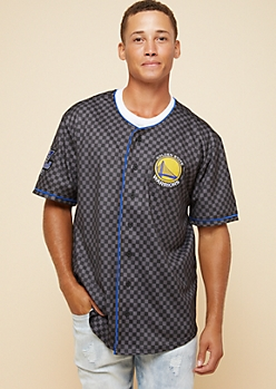 NBA Golden State Warriors Black Checkerboard Button Down Top