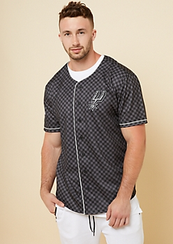 NBA San Antonio Spurs Black Checkerboard Button Down Top