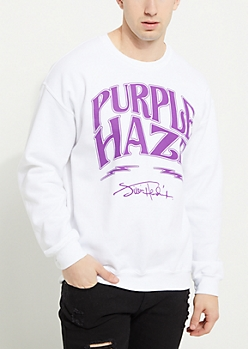White Jimi Hendrix Purple Haze Crewneck Sweatshirt
