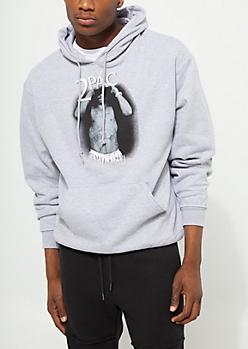 Gray Tupac Fleece Hoodie