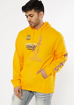 Yellow Looney Tunes Sketch Graphic Hoodie