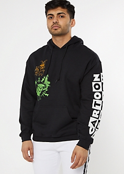 Black Cartoon Network Sketch Graphic Hoodie