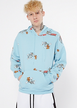 Light Blue Tom And Jerry Print Graphic Hoodie