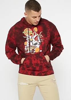 Burgundy Tie Dye Space Jam Graphic Hoodie
