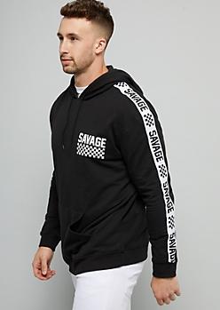 Black Checkerboard Print Savage Fleece Hoodie