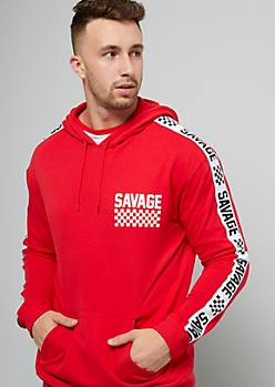 Red Checkered Print Savage Side Striped Hoodie