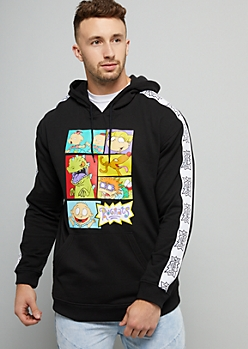 Black Rugrats Side Striped Hoodie