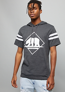 Gray California Bear Varsity Graphic Hooded Tee