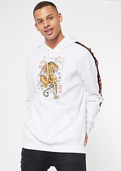 White Kanji Tiger Side Striped Graphic Hoodie