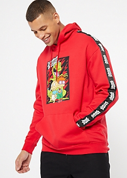 Red Rugrats Side Striped Graphic Hoodie