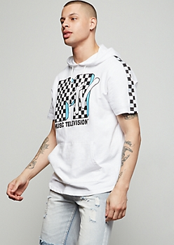 2aeee80d80 White MTV Checkered Print Graphic Hooded Tee