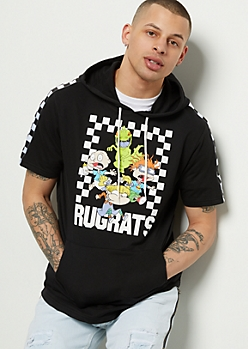 Black Rugrats Striped Sleeve Short Sleeve Graphic Hoodie