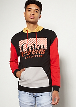 Black Colorblock Checkered Print Coke Graphic Hoodie