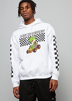 White Checkered Print Mario Cart Graphic Hoodie