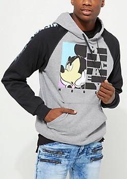 Gray Angry Mickey Mouse Raglan Hoodie