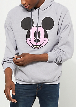 Gray Micro Striped Mickey Mouse Hoodie