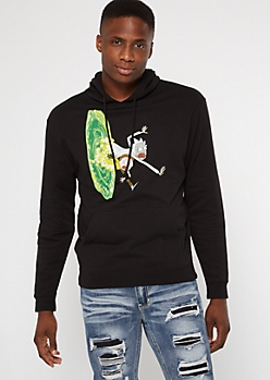 Black Rick And Morty Portal Graphic Hoodie