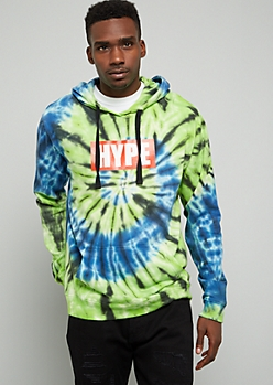 Blue Hype Tie Dye Pullover Graphic Hoodie