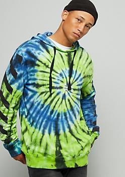 Green Spiral Tie Dye Striped Sleeve Hoodie
