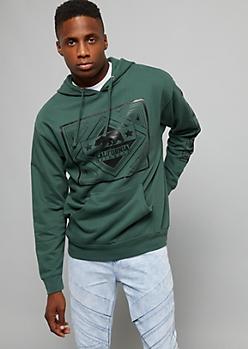 Dark Green California Bear Printed Sleeve Hoodie