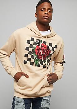Sand Checkered Rose Printed Sleeve Hoodie