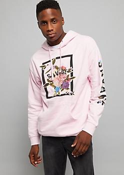 Light Pink Floral Print Savage Sleeve Hoodie