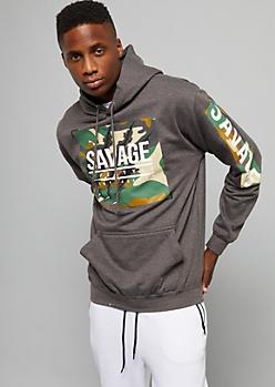 Charcoal Gray Camo Print Savage Pullover Hoodie